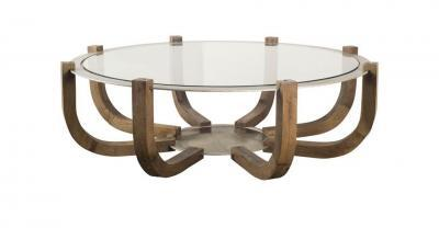 wood round glass coffee table