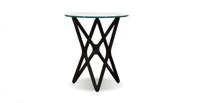 espresso tall wood side table