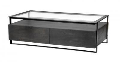 metal wood rectangular coffee table