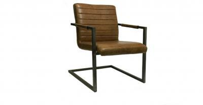whisky leather metal arm chair