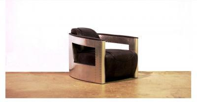Metal Leather Bomber Chair
