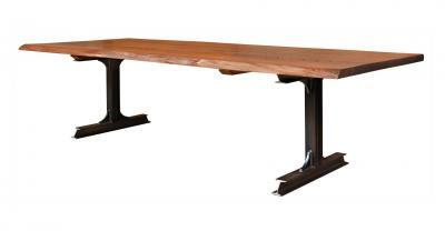 wood dining table with black metal legs