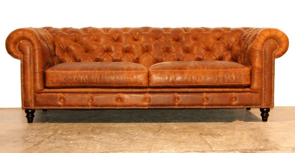 Champagne Tufted Leather Sofa