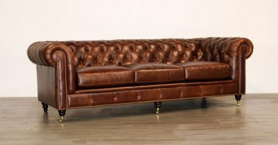 brown leather tufted back sofa