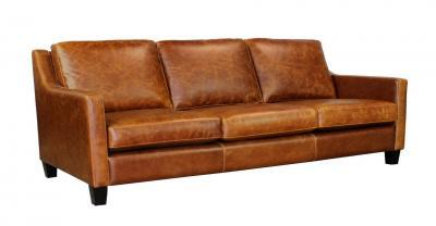 brown 3 seat leather sofa