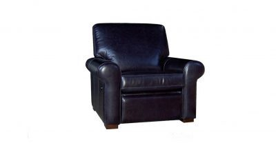 Blue Leather Recliner Chair