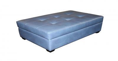 blue leather tufted ottoman