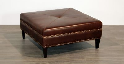 brown leather studded ottoman