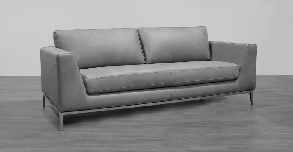 sofa with chrome base