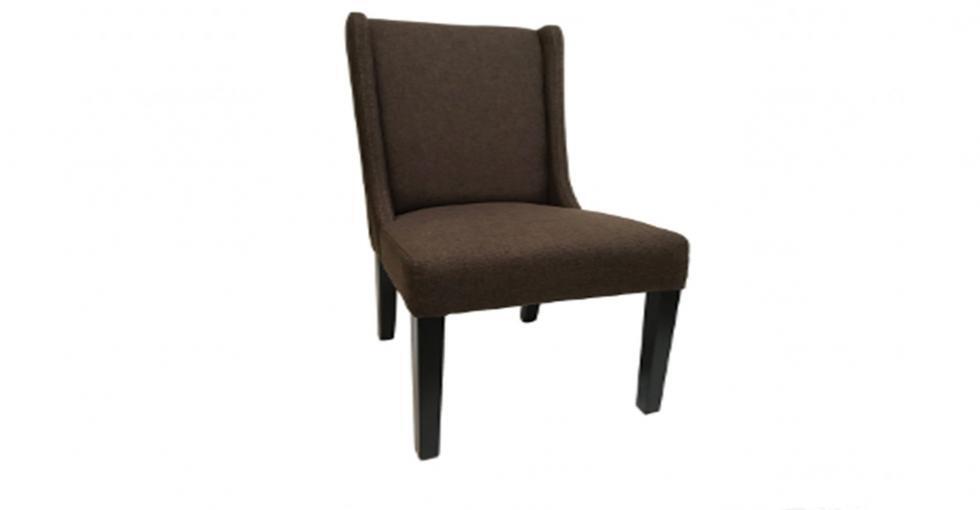 chocolate fabric plain back dining chair