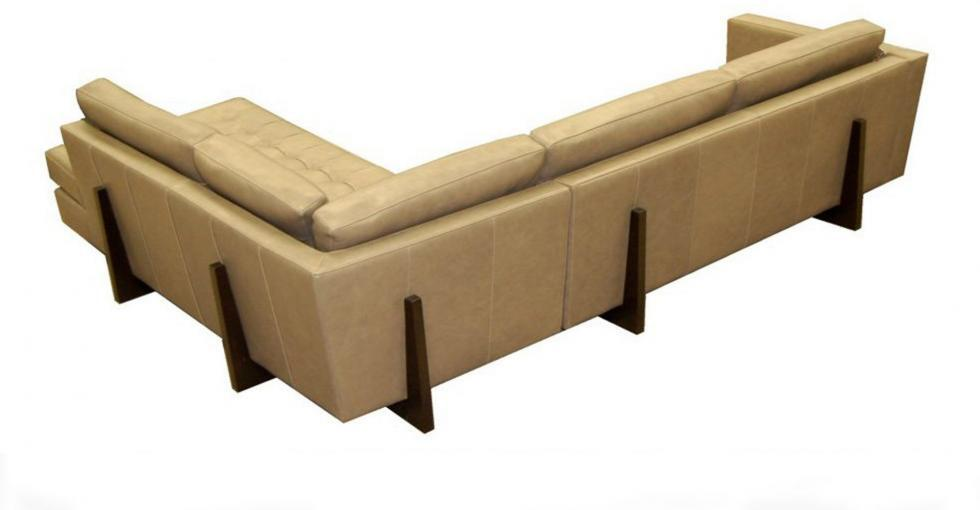 Leather And Wood Sectional