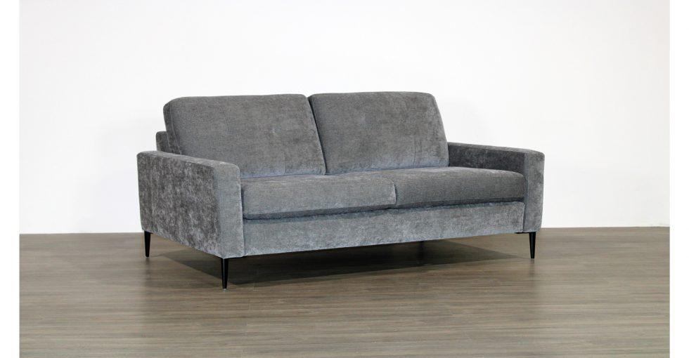grey fabric condo sofa