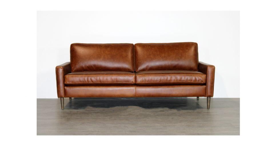 brown leather condo sofa