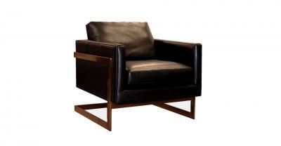 metal black leather chair