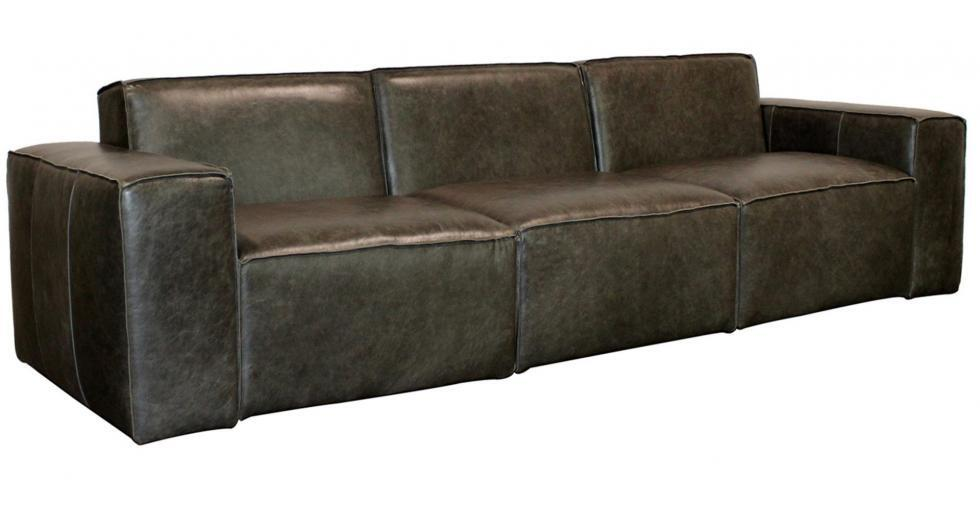 Extra long modular leather sofa
