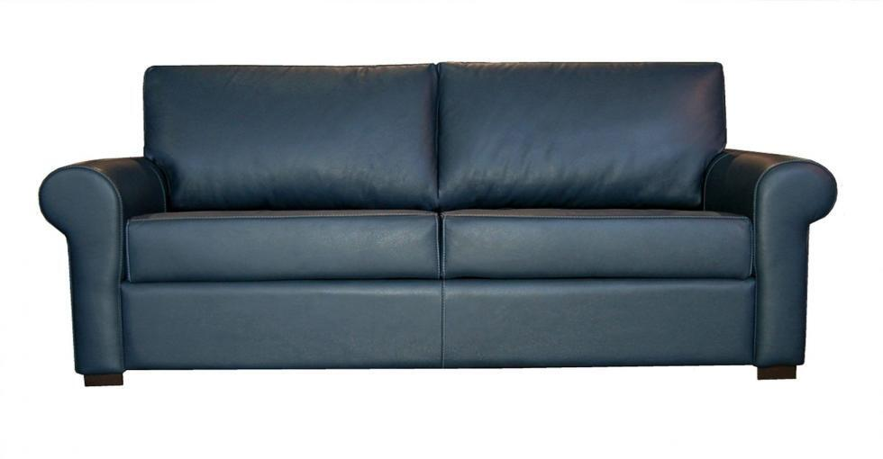 Blue Paris Leather Sleeper Sofa