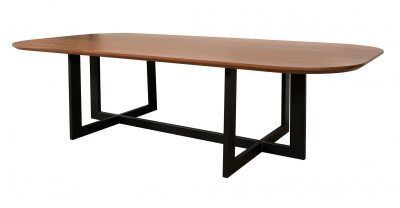 wood dining table with metal base