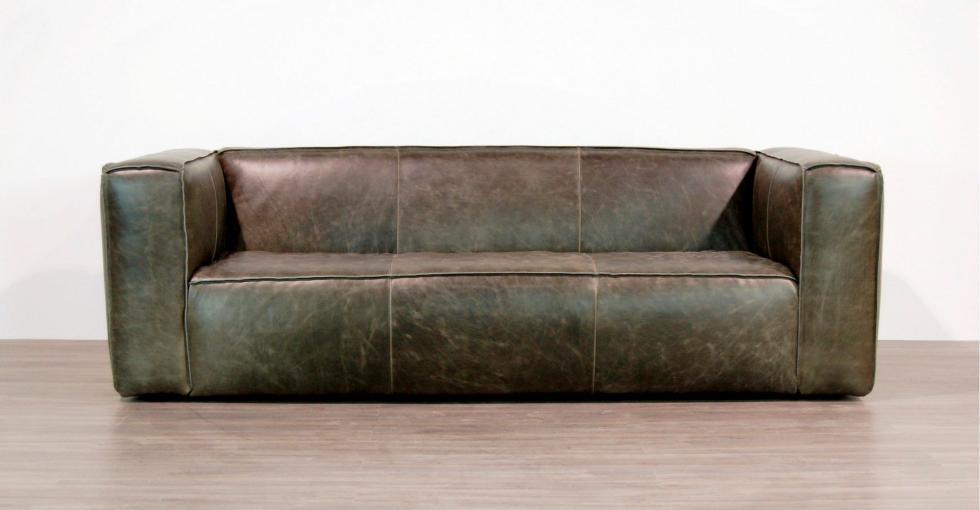 Grey Distressed Leather Sofa