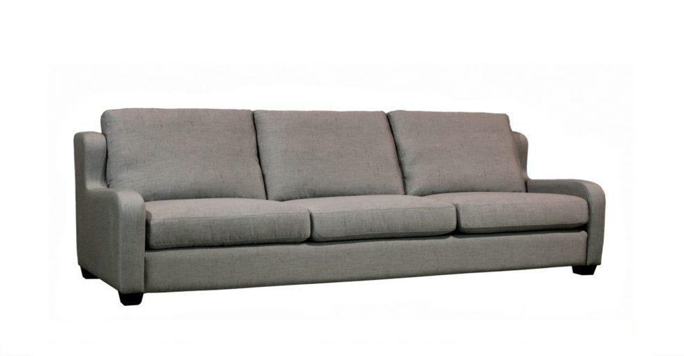 grey sofa with feather down seats and backs