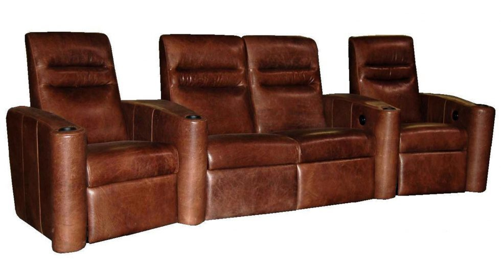 Brown Leather 4 Seater Theatre Seating