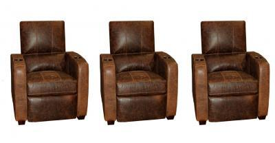 Brown Leather Single Theatre Seating Chair