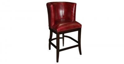 wood frame leather counter stool
