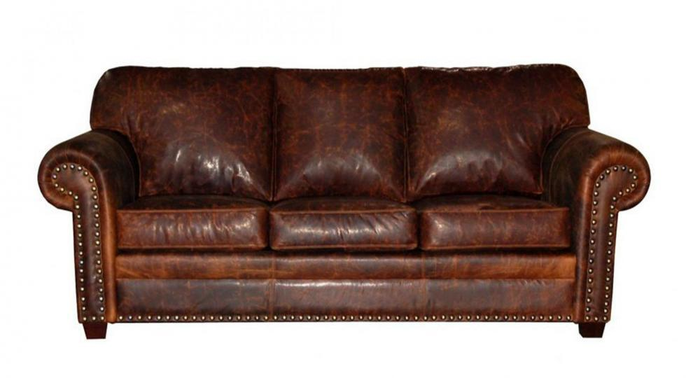 leather sofa with nailheads