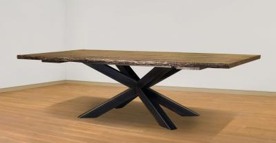 metal base wood dining table