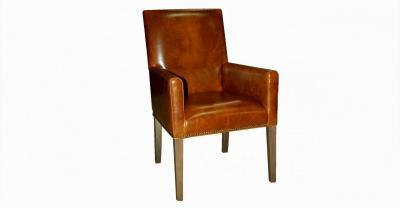 brown leather arm dining chair