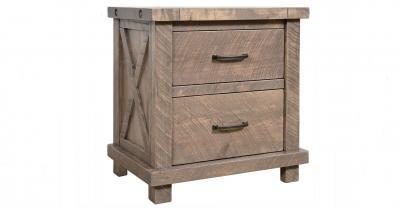 2 drawer wood nightstand