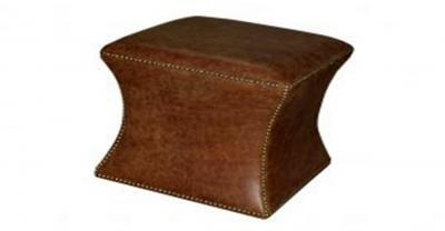 Brown Leather Cube Ottoman