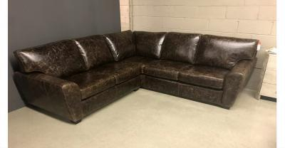 brown distressed leather sectional