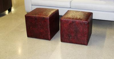 embossed leather cube ottomans
