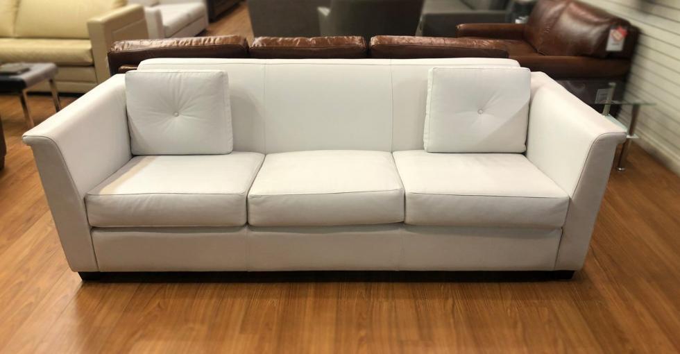 white leather sofa clearance