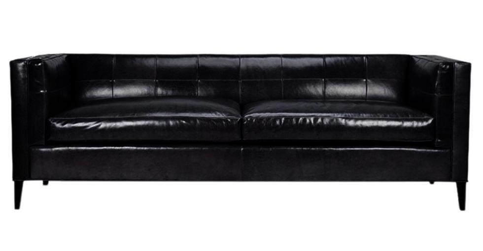 Hoxton Black Leather Sofa
