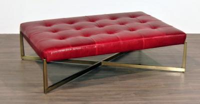 red leather metal tufted ottoman