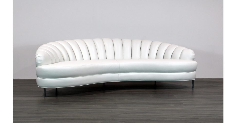 white leather channel back sofa