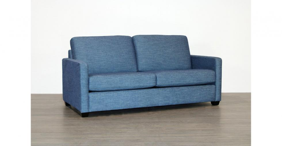 blue fabric condo sofa
