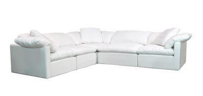 white fabric modular sectional