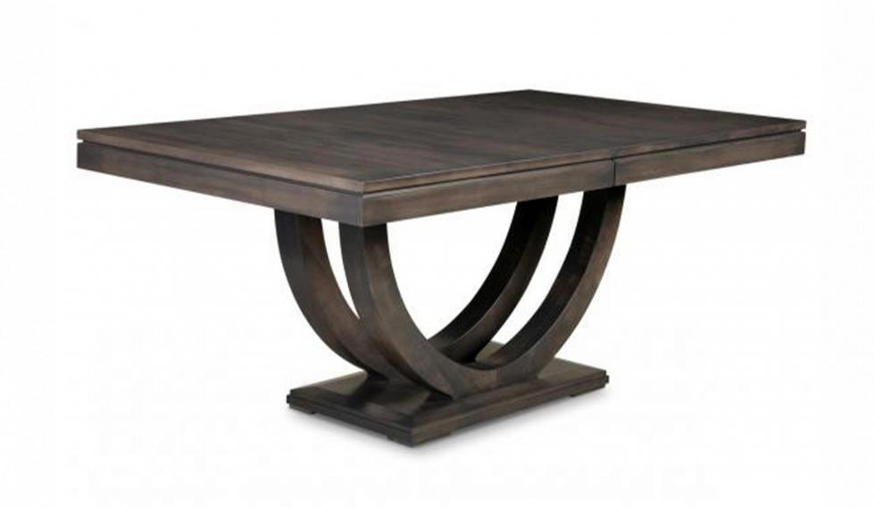 wood dining table with pedestal base