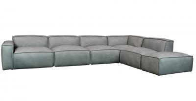 modular leather sofa with vegan down backs and seats