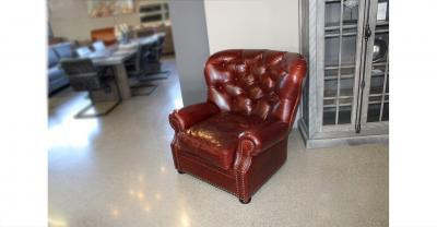 back tufted rolled arm leather chair