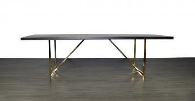 wood with metal base dining table