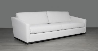 fabric sofa with wood base