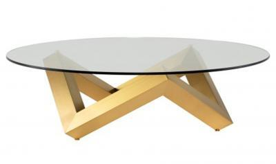 glass tabletop with brushed gold base